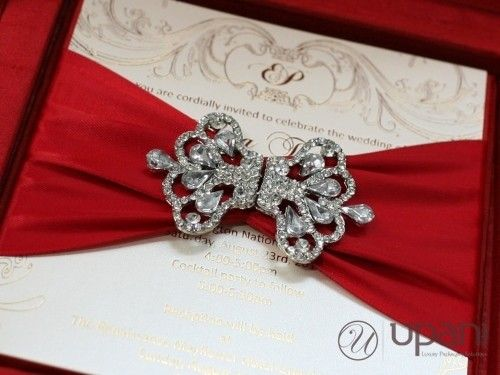 Boxed Wedding Invitations Wholesale: Red Silk Wedding Invitation Box With Rhinestone Brooch And