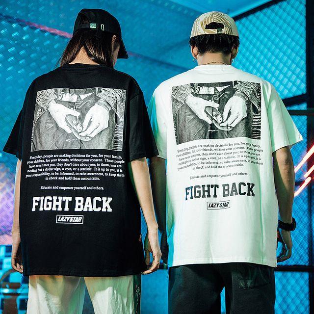 FIGHT BACK Print Harajuku T Shirt in 2019 | Top streetwear