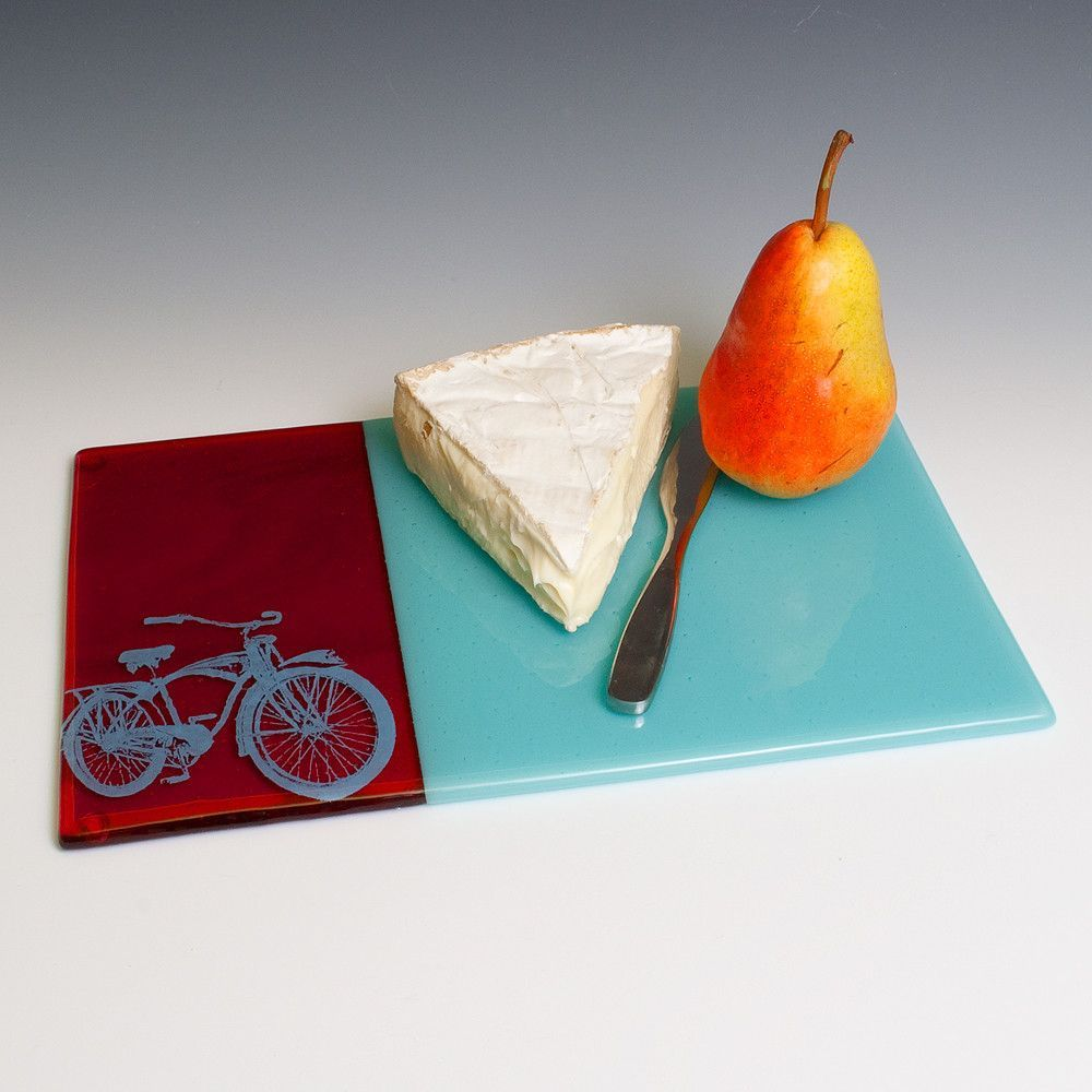 Bike Cheese Plate   Fused glass, Fused glass plates, Cheese plate