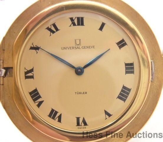 rare ultra thin universal geneve heavy mens 18k gold pocket watch rare ultra thin universal geneve heavy mens 18k gold pocket watch universalgenve