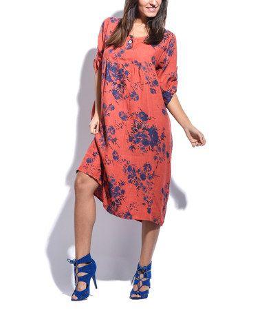 Couleur Lin Coral Floral Pocket Linen Shift Dress | Floral, Dresses ...