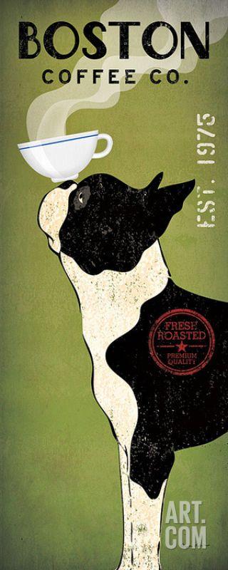 Boston Terrier Coffee Co . Art Print by Ryan Fowler - 8x20 #DoesnotApply