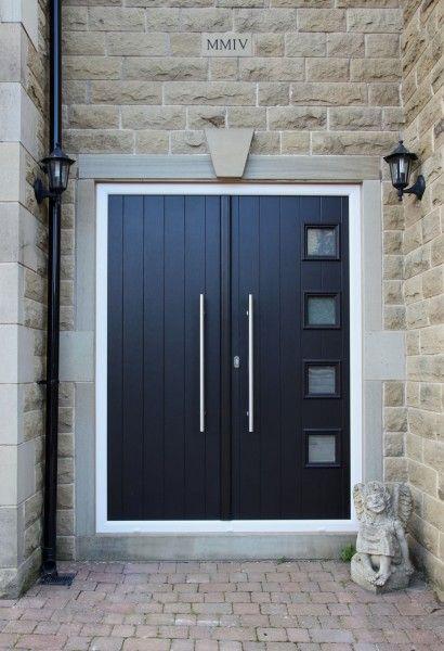 Milano Composite French Doors In Black On Cream Frame With Es3 Door