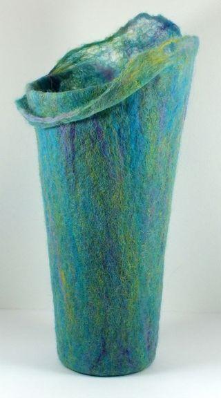 Wet felt vessel with cobweb collar small imageDSCF1523