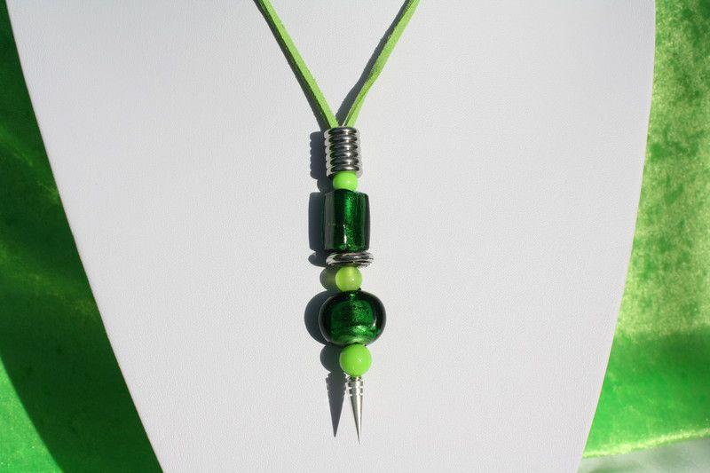 Kette grün Band Cateye Anhänger dunkelgrün Schmuck   Grüner band ...