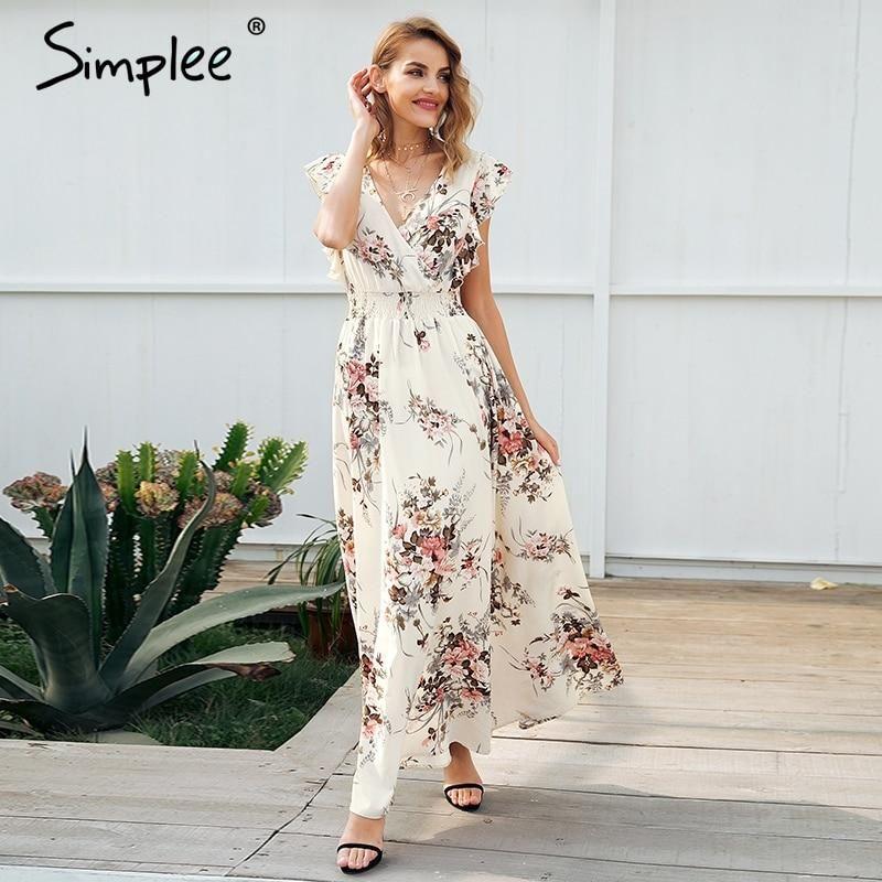 54050b15e25 Ruffle backless bow print long dress Women v neck tie up summer dress female  Casual beach chic boho maxi dress vestidos