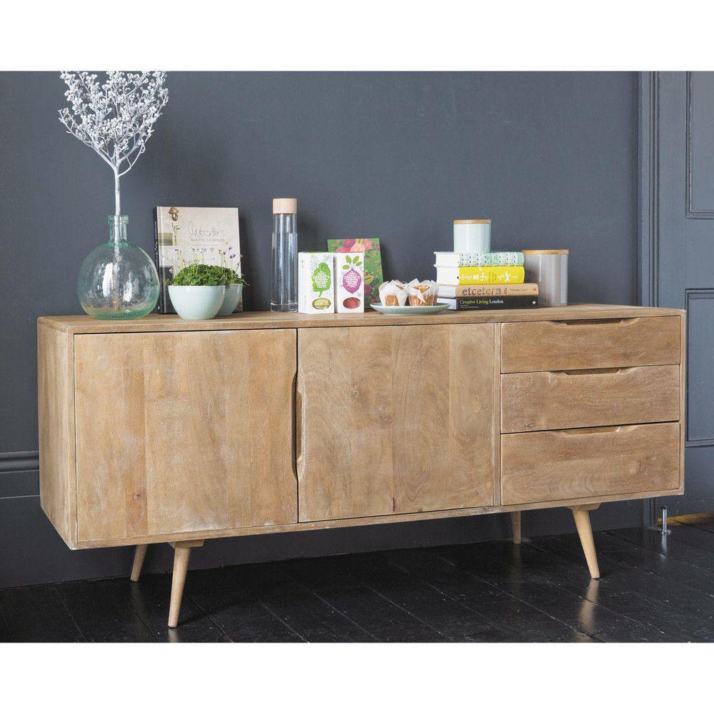 credenza bassa lunga vintage in mango bagno 50s. Black Bedroom Furniture Sets. Home Design Ideas