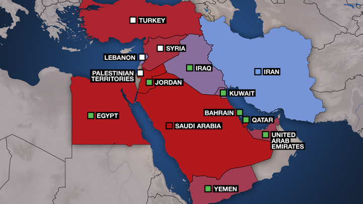 Map: Sunni and Shiite influence in the Middle East - France 24 ... on farc influence map, yemen influence map, ukraine influence map, syria influence map, media influence map, cuneiform influence map, islam influence map, united states influence map,