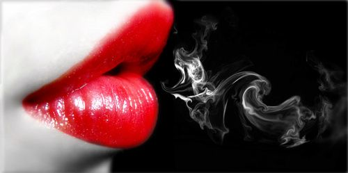 Black White And Red Black And White Lips Mist Red Smoke