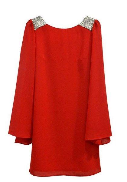 Vestido con manga murciélago y brillo en los hombros. Vestidos Rojos Cortos 2b6d0696e9f7