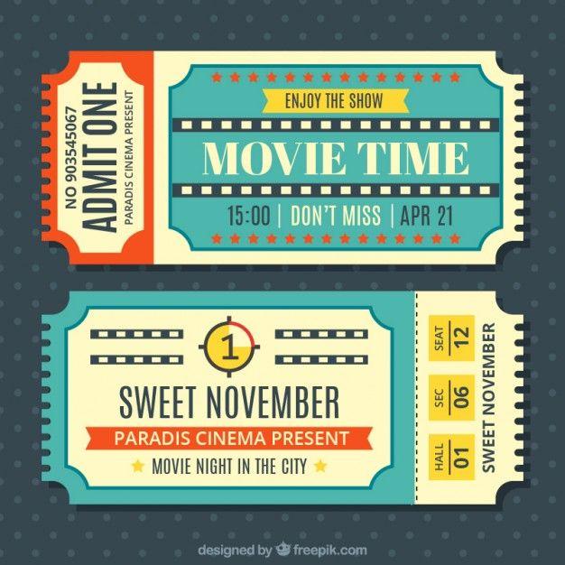 Vintage Movie Tickets Set Movie Ticket Template Vintage Ticket Ticket Template
