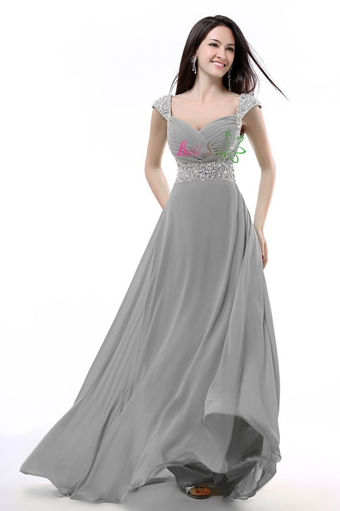 Silver Gray Cap Sleeve Long Formal Prom Dresses Party Bridesmaid Evening Gowns #BallLily #Formal