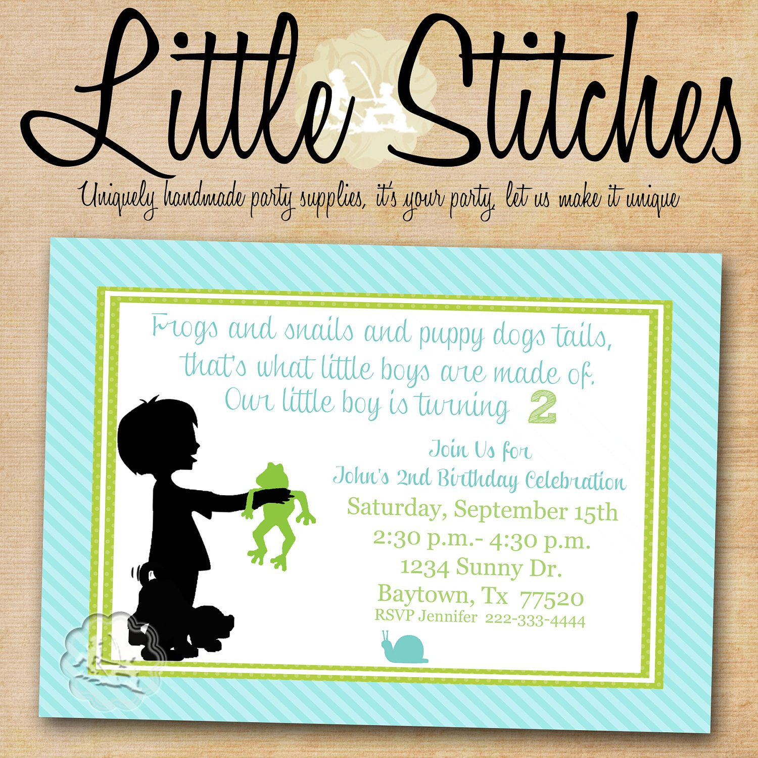 What Little Boys are made of Birthday Party/ Baby Shower Invitation ...
