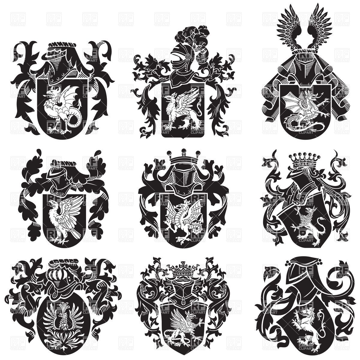 medieval-heraldic-coat-of-arms-with-mythological-animals-Download ...