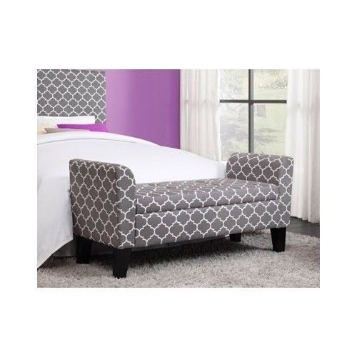 Modern Grey Trellis Pattern Storage Ottoman Bench Chair