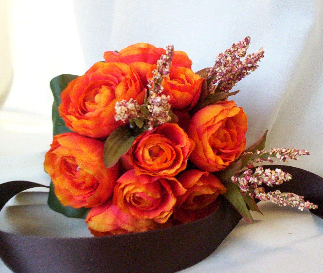 Fall Wedding Bouquets Fake : Fall bouquet orange bridal autumn wedding flowers