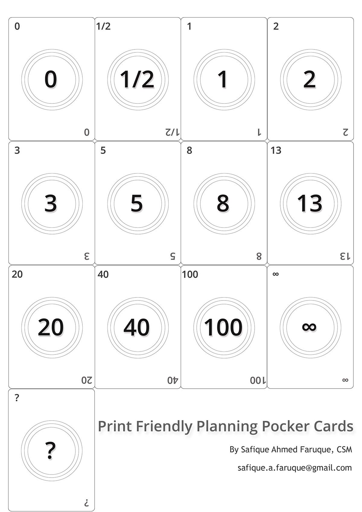 Picture Agile Planning Poker Cards Black And White Print Friendly Cards To Print Planning Poker Poker Cards Card Template