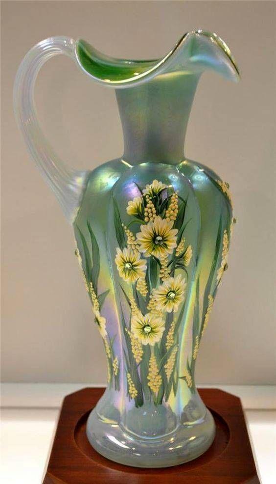 Fenton Green Overlay Glass Vase With Mumsperidot Swarovski Centers