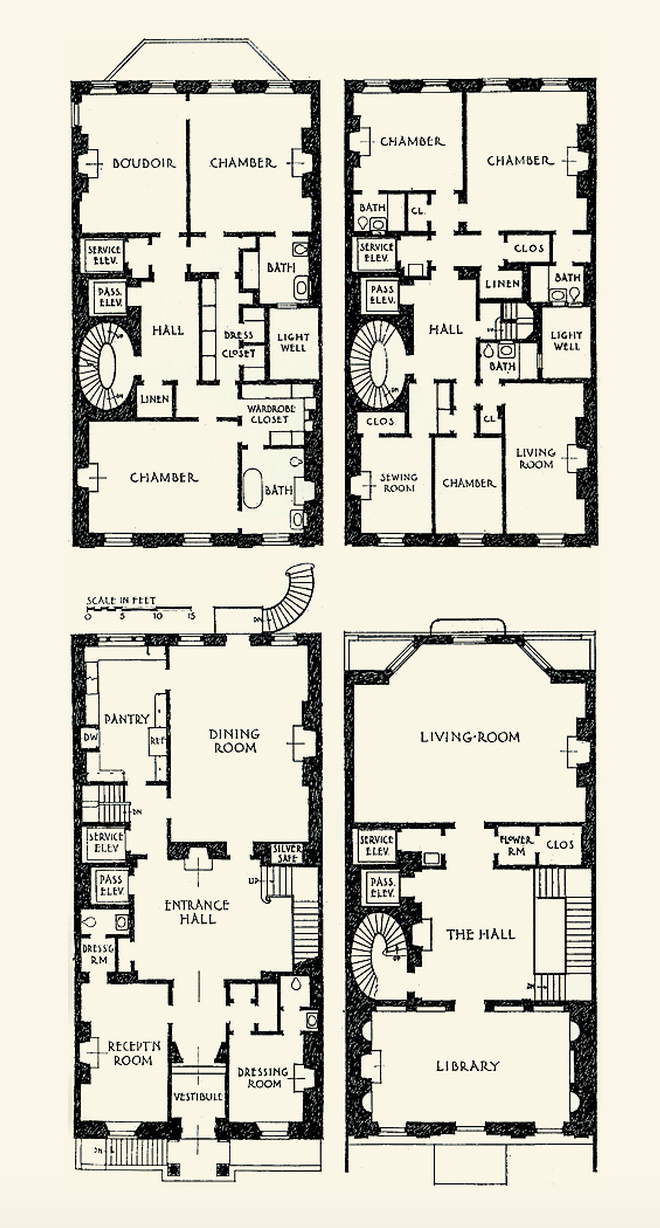 Vincent astor townhouse 130 e 80th street new york city for Townhouse floor plans