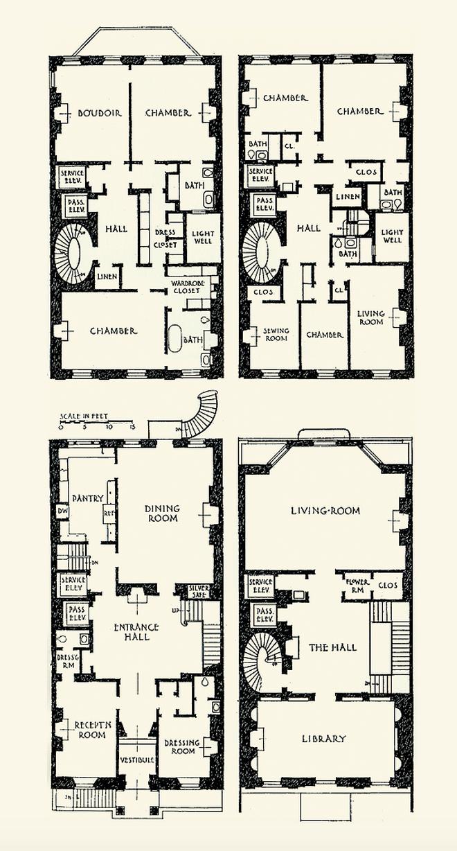 Vincent Astor Townhouse 130 E 80th Street New York City Architect Mott B Schmidt 1926 Mansion Floor Plan Floor Plans Vintage House Plans