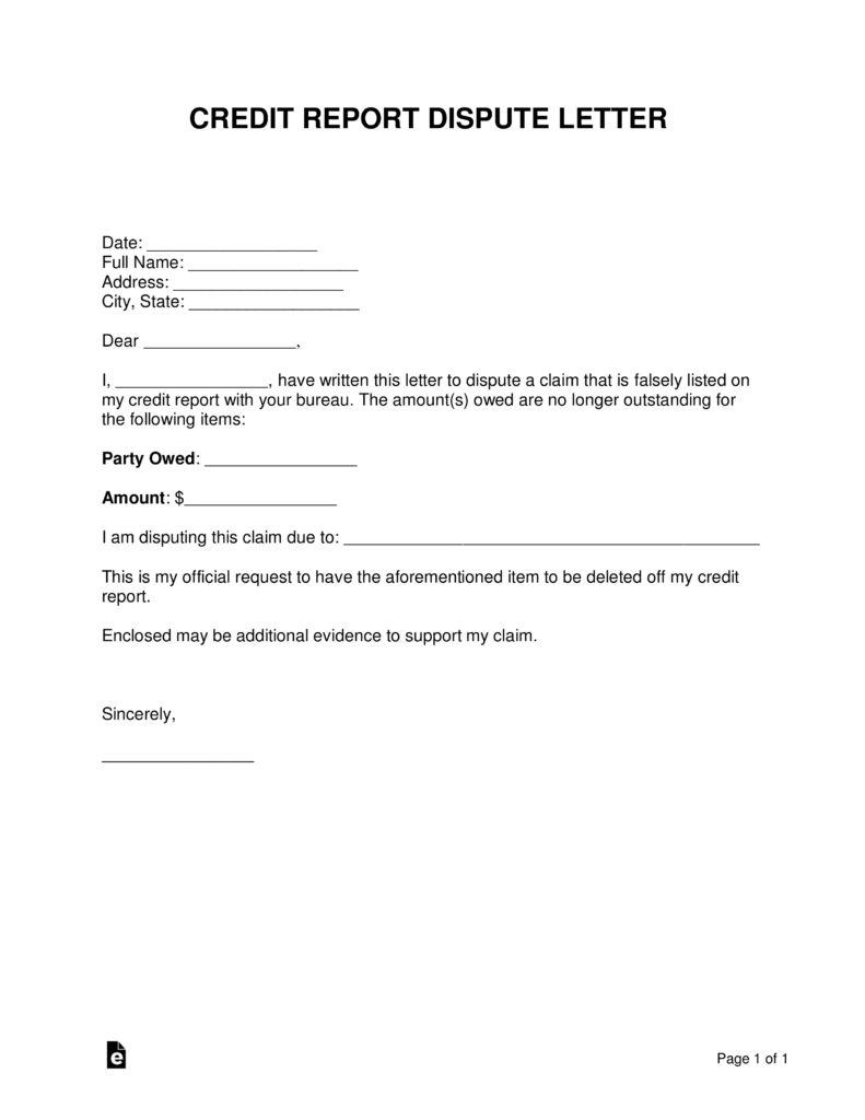 Free Credit Report Dispute Letter Template Sample Word Pdf