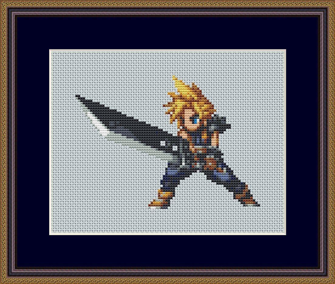 Final Fantasy Cross Stitch Pattern Pdf Cloud Strife Cross Stitch