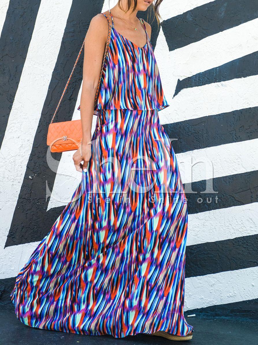 Vestido tirante fino maxi -azul 27.15
