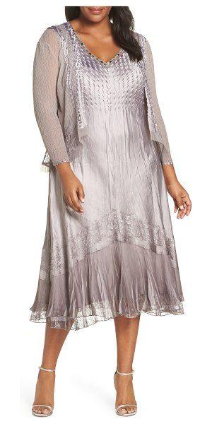Komarov Sleeveless Charmeuse Dress & Chiffon Jacket | Plus ...