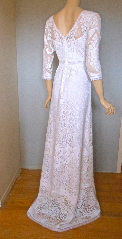 Boho sheer lace yokes u sleeve angelic vintage lace wedding dress