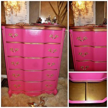 French Provincial ~ Victoriau0027s Secret Styled PINK ~ Chest / DRESSER