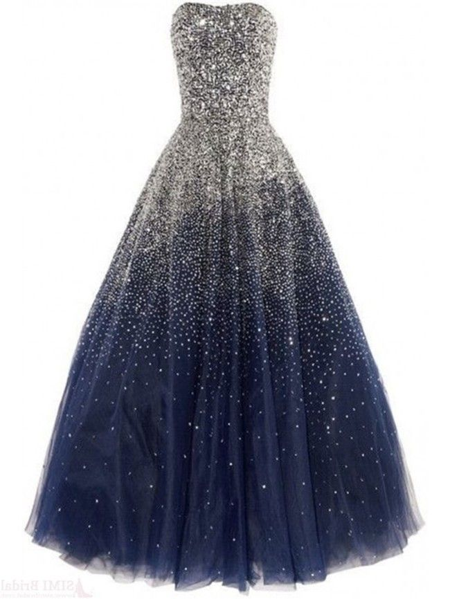 95948005e5 Gorgeous Ball Strapless Navy Blue Tulle Beaded Sparkly Prom Dress