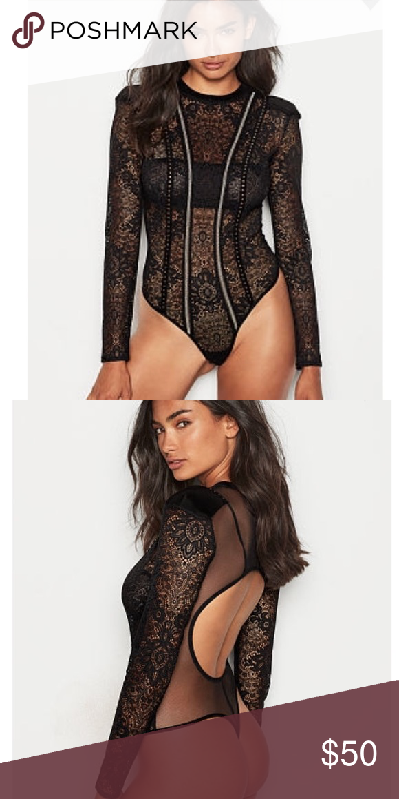 86c7c438b9 VERY SEXY Embellished Lace Bodysuit Sheer lace with glimmering studs  contour curves in a