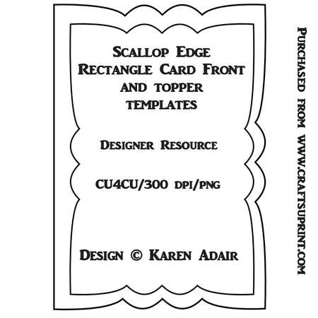 Scallop Rectangle Card Front Topper Templates Templates Cards Card Template