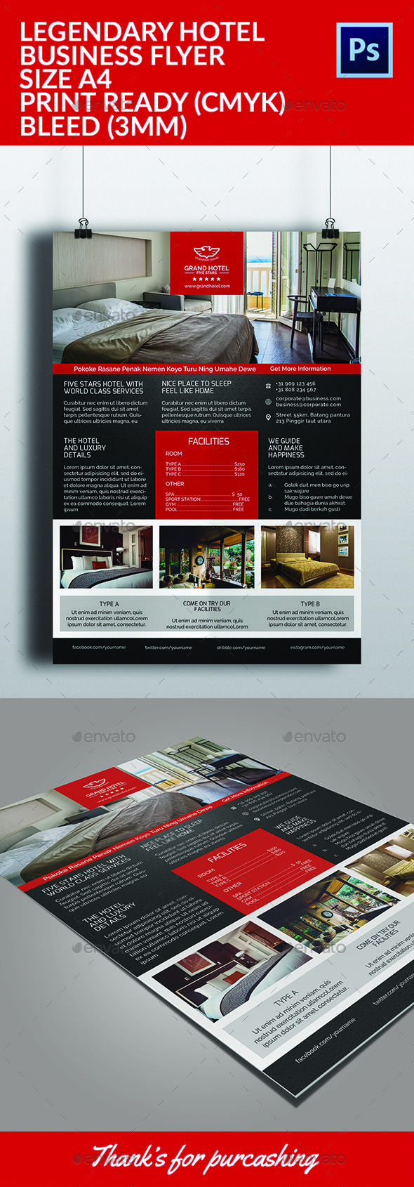 Legendary Hotel Flyer Template | Flyer template, Template and ...
