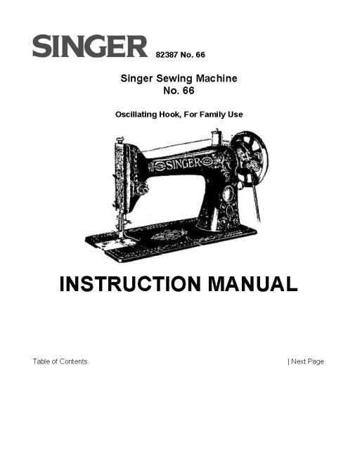 Singer Model 66 Sewing Machine Instruction Manual Sewing Machine