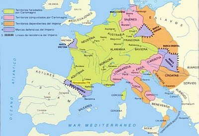 The Carolingian Empire covered most of western Europe from 800 - 880.  It was a Frankish kingdom, significant because it stopped the spread of Islam from Spain.