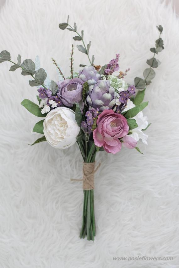 Diameter 9 PURPLE GREEN Paper Bridal Bouquet - Boho Paper Wedding bouquet, Twine wrap