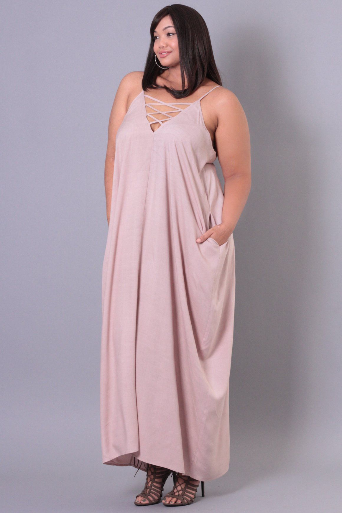 Plus Size Flowy Maxi Dress Mauve Curvy Sense All Dressed Up