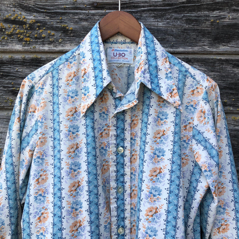 70s vintage shirt floral print men m 1970s disco butterfly