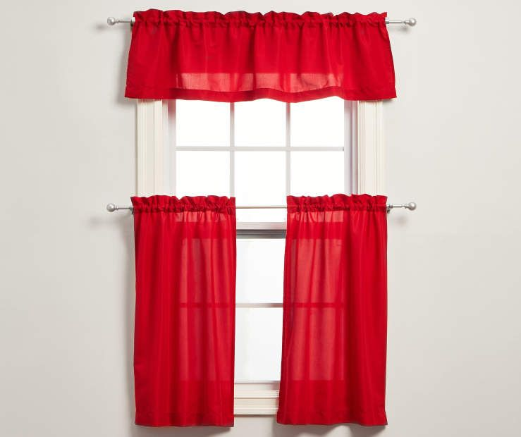 Living Colors Marla Red Kitchen Tier Valance 3 Piece Set Red