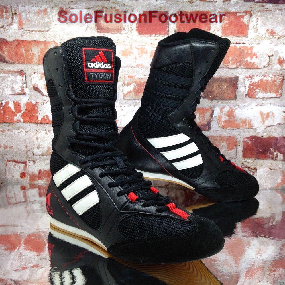 adidas Womens Tygun Boxing Trainers Black sz 5 Mens Wrestling Boots 38 VTG  RARE  2a5c516d2