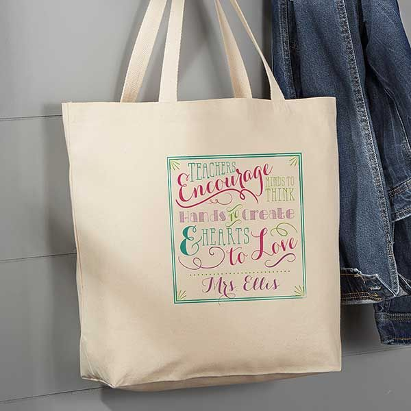 Teacher Quotes Personalized Large Canvas Tote Bag | Teacher