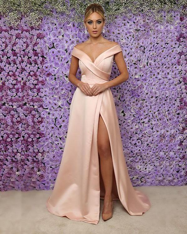 88c966b57d0 BeautyRobes Only  159.99 for Charming V-Neck Off the Shoulder Long Slit  Evening Dress Satin Pink Prom Dress