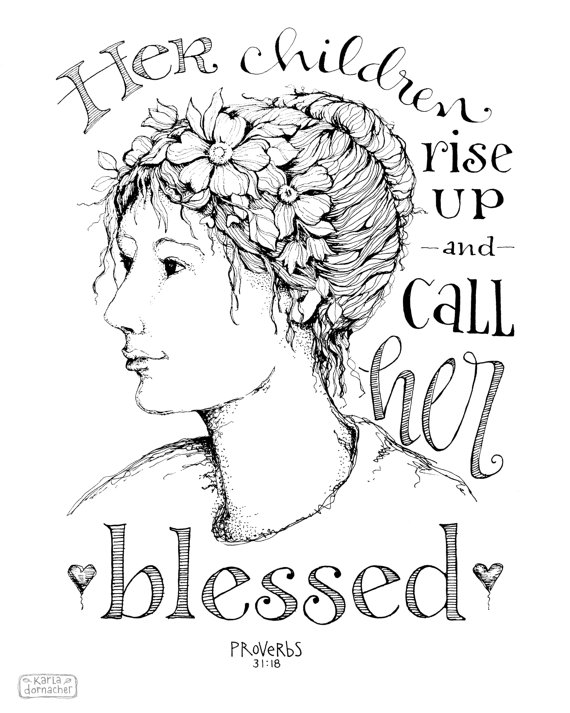 Her Children Rise Up 8x10 Art Print Mothers Day Proverbs 31 Etsy 8x10 Art Prints Bible Art Journaling Mothers Day Coloring Pages