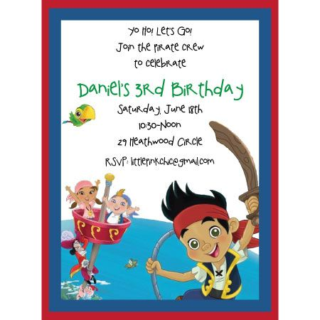 jake and the neverland pirates birthday invitation template, Invitation templates