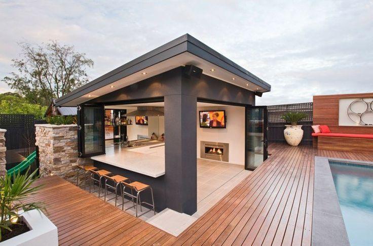 Gazebo Et Abri Soleil Des Idees Pour Jardin Avec Piscine Houzz Rustic Bar Home Bar Designs Modern Outdoor Kitchen Backyard Patio Designs Patio Design