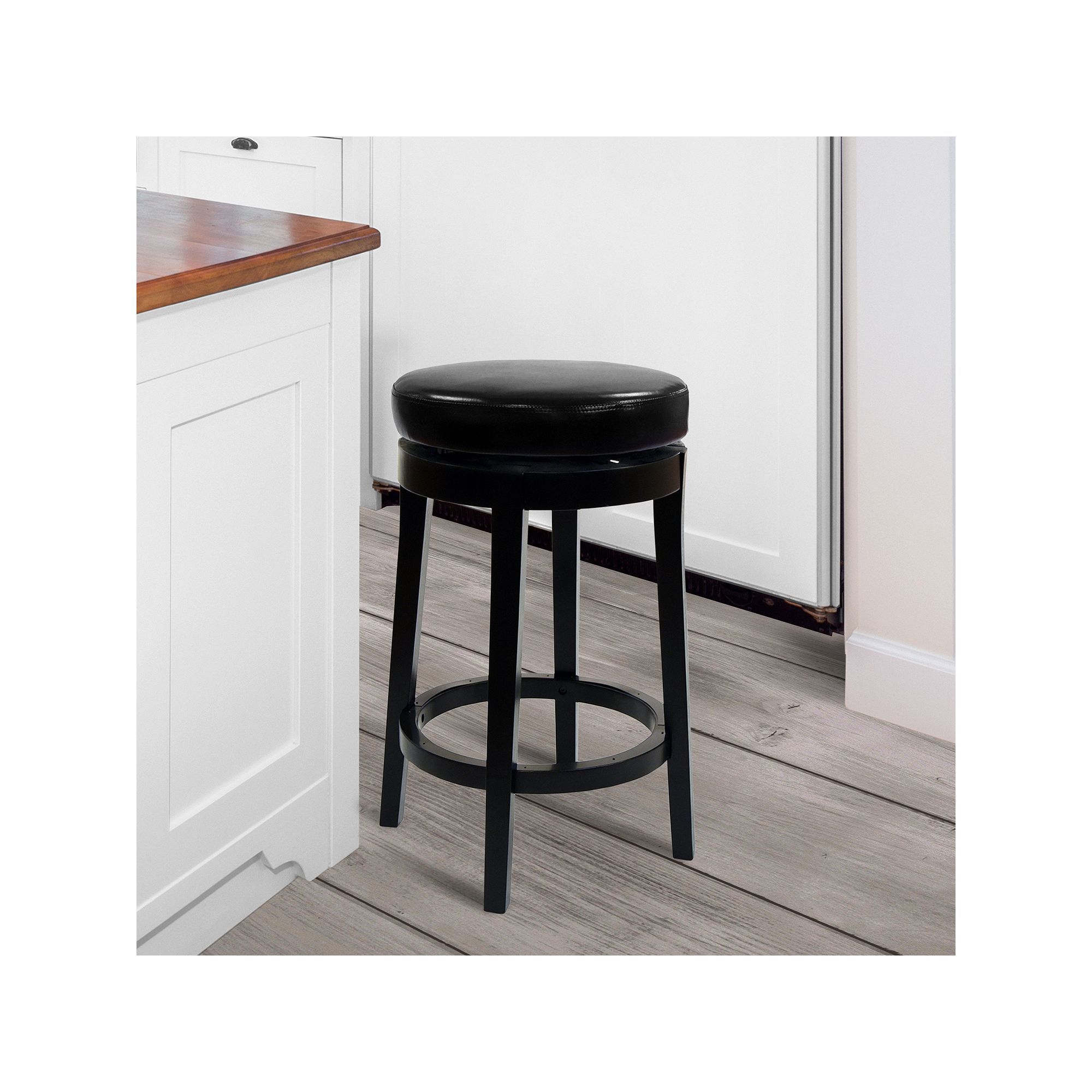 Armen Living Seaside Swivel Counter Stool, Black
