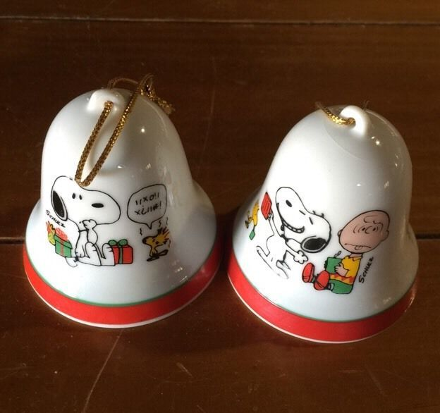 2 Vintage Snoopy, Woodstock Goose, Peanuts Ceramic Christmas Bell ...