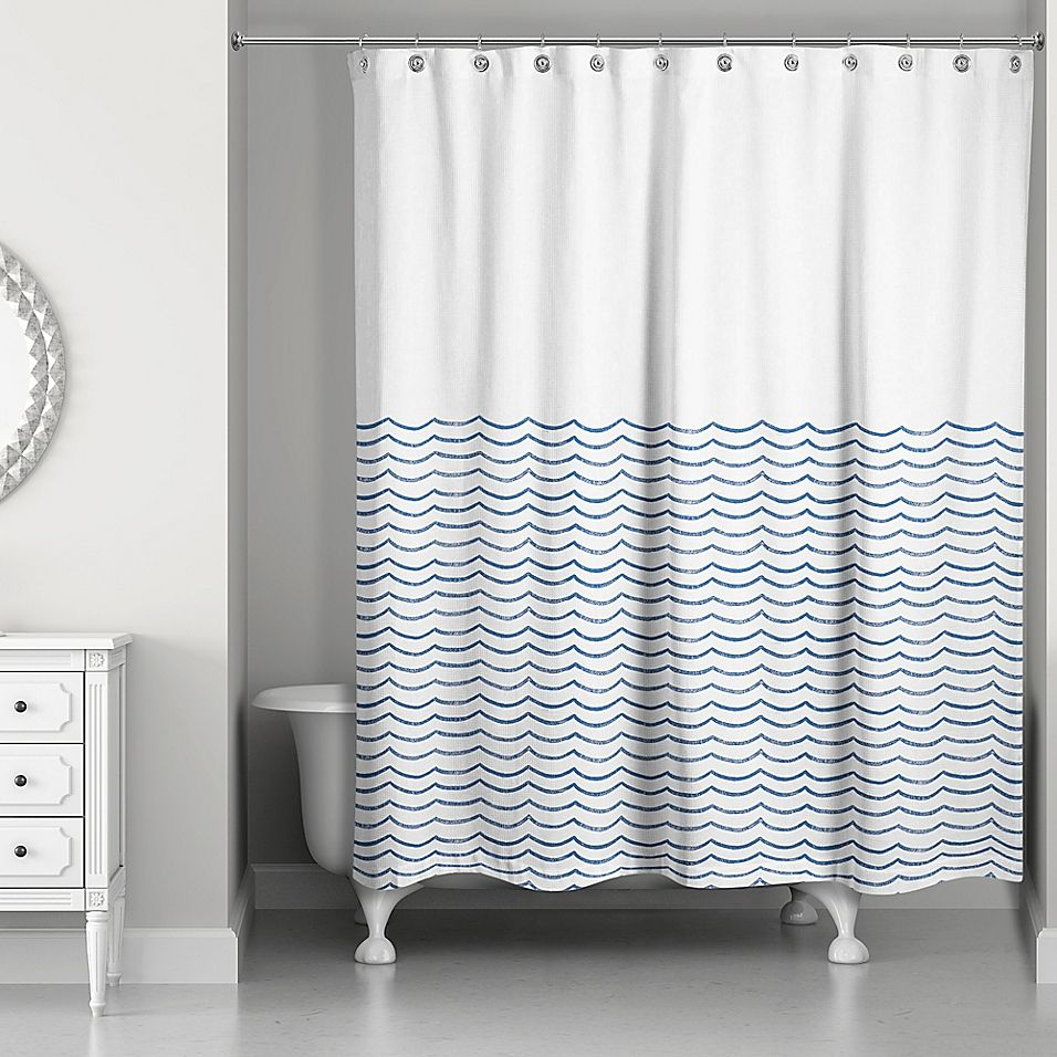Designs Direct Doodle Waves Shower Curtain In Blue White In 2020