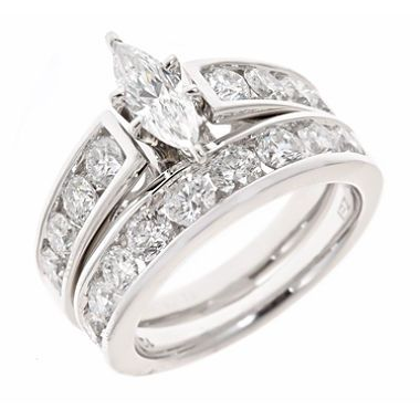 tw marquise and round diamond bridal ring set in 14k white gold - Marquise Diamond Wedding Ring